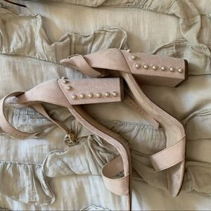 Nude heels with pearls worn once